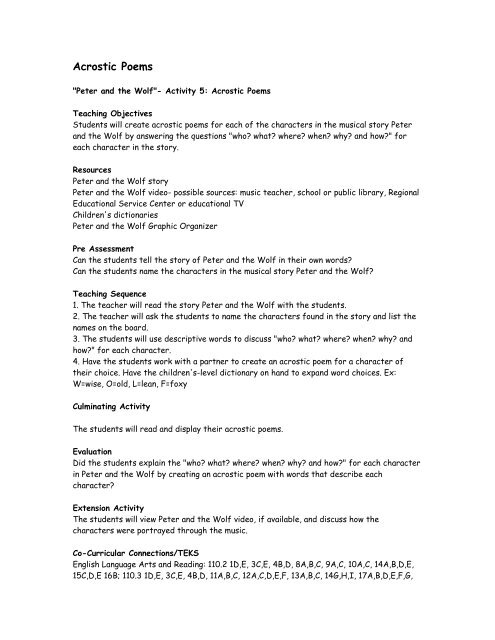 Peter And The Wolf Activity 5 Acrostic Poems Dso Kids