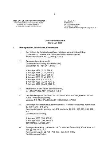 Prof. Dr. iur. Wolf-Dietrich Walker Literaturverzeichnis - Justus-Liebig ...