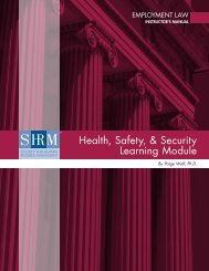 Health, Safety, & Security Learning Module - Society for Human ...