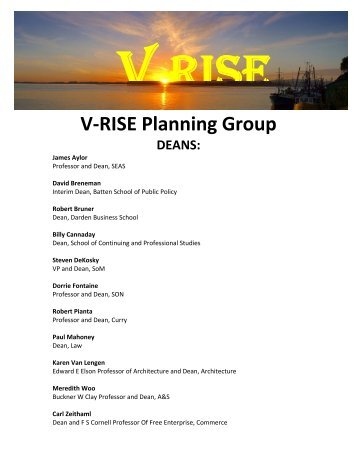 V-RISE Planning Group DEANS - University of Virginia