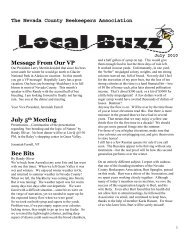 The Nevada County Beekeepers Association Message From Our VP ...