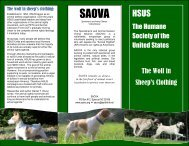 HSUS: the wolf in sheep's clothing - Sportsmen's and Animal ...