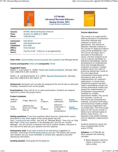 a pdf version of syllabus - NCSU Statistics
