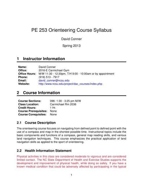 Ncsu Academic Calendar.Pe 253 Orienteering Course Syllabus