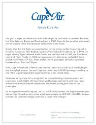 Download a press kit. - Cape Air