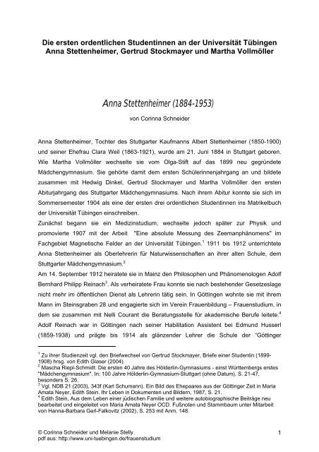 Anna Stettenheimer (1884-1953) - Universität Tübingen