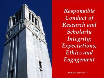 Responsible Conduct of Research and Scholarly Integrity ...