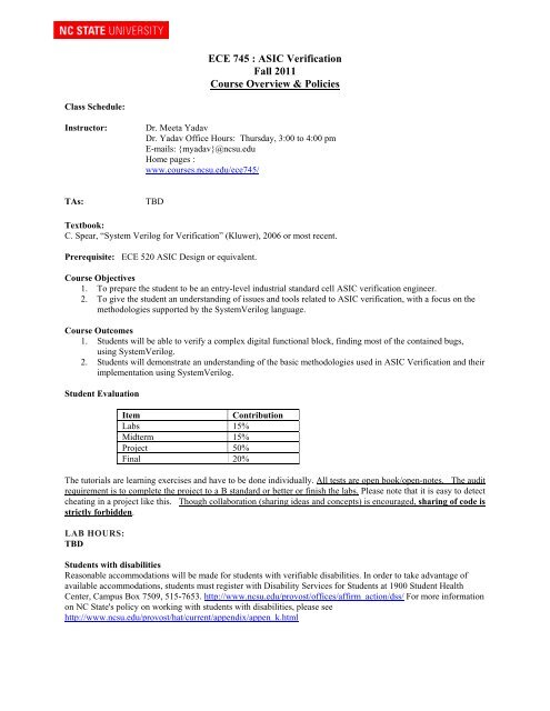 ECE 745 : ASIC Verification Fall 2011 Course Overview & Policies