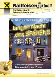 Raiffeisenbank Friesach-Metnitztal RaiffeisenAktuell