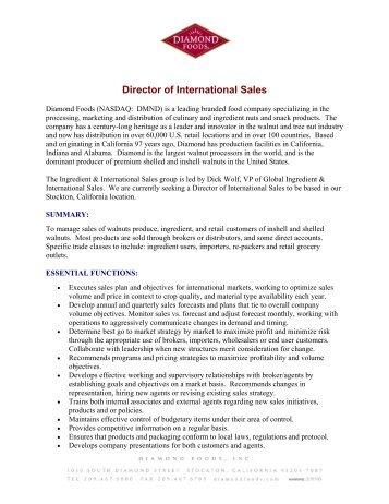 Director of International Sales - Diamond Foods