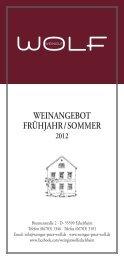 WEINANGEBOT FRÜHJAHR/SOMMER - Weingut Peter Wolf