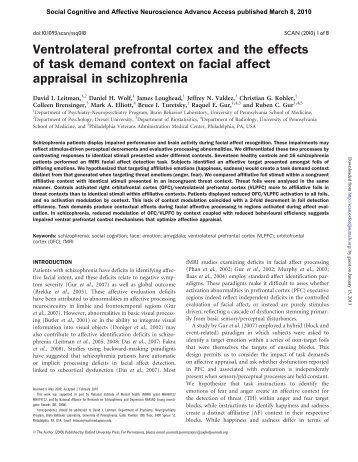 Ventrolateral prefrontal cortex and the effects of task demand context ...