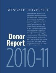 WINGATE UNIVERSITY - Alumni & Friends
