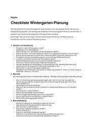 Checkliste Planung Wintergarten - Wintergarten Wolf