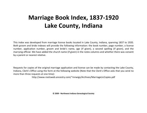 Marriage Book Index 1837 1920 Lake County Indiana