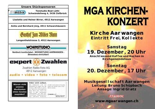 Kirche Aarwangen 19. Dezember, 20 Uhr 20. Dezember, 17 Uhr