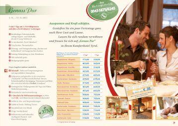 Preise Sommer 2013 - Hotel Tyrol am Haldensee