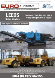 Auctioneers of Industrial Plant, Construction ... - Euro Auctions