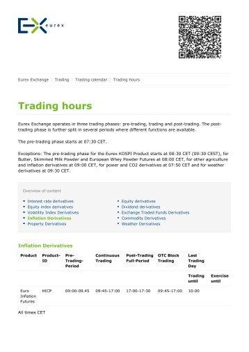 Eurex kospi options trading hours