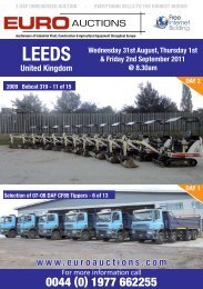 Thursday 1st September 2011 @ 8.30am - Euro Auctions