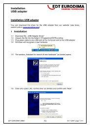 Installation USB adapter - EDT EURODIMA