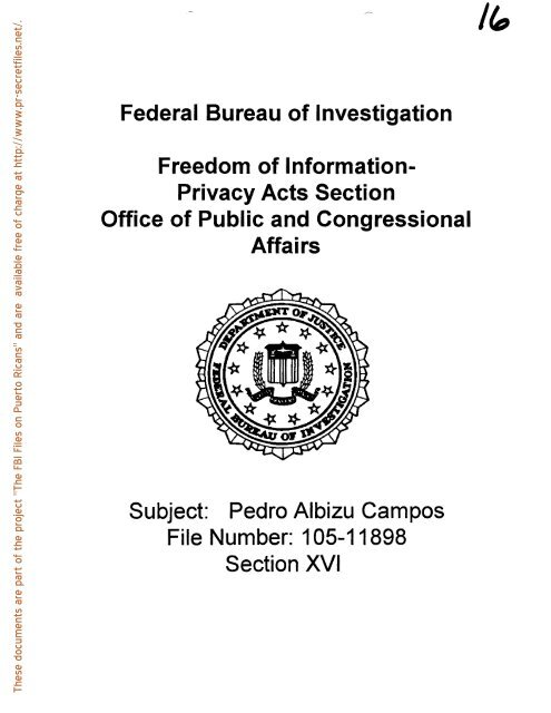 Pedro Albizu Campos File Number - FBI Files on Puerto Ricans