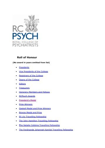 RCPsych Roll of Honour - Royal College of Psychiatrists