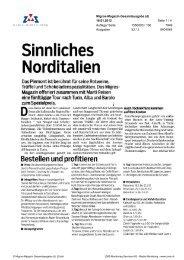 Sinnliches Norditalien, Migros Magazin, 16. Januar 2012 - Enit
