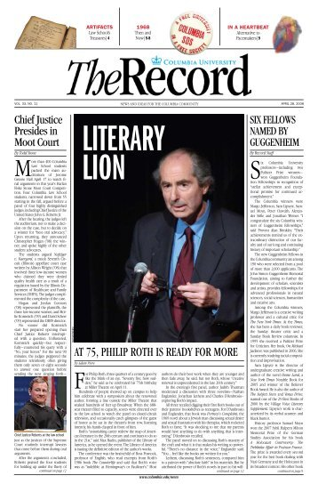 at 75, PhiliP Roth is Ready foR moRe - Columbia News - Columbia ...