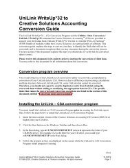 Conversion Guide: UniLink WriteUp*32 to ... - Tax & Accounting