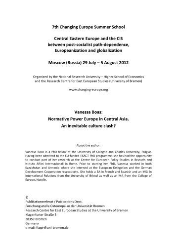 7th Changing Europe Summer School Central Eastern Europe and ...