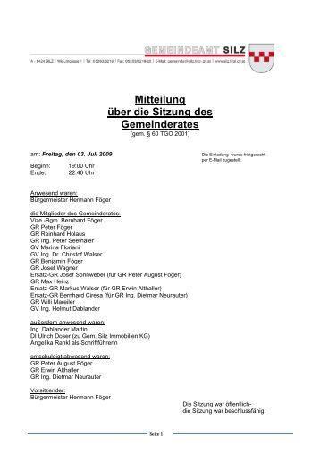 Mitteilung über die Sitzung des Gemeinderates - Gemeinde Silz
