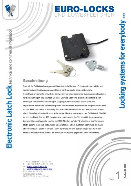 Electronic Latch Lock - Euro-Locks Sicherheitseinrichtungen GmbH