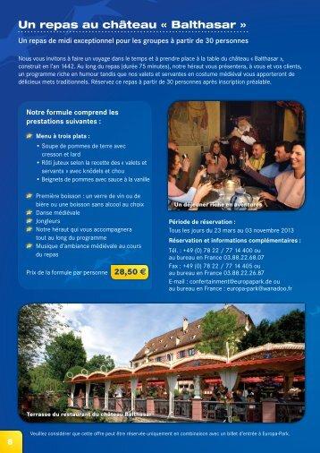 Un repas au château « Balthasar » - Europa-Park