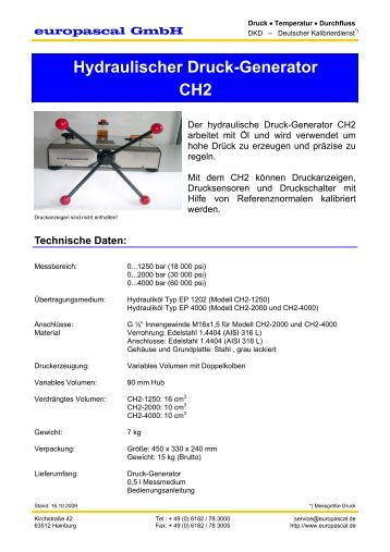 Hydraulischer Druck-Generator CH2 - Europascal GmbH