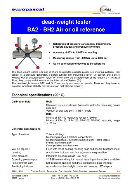 Datasheet Air or Oil reference Dead Weight Tester - Europascal GmbH