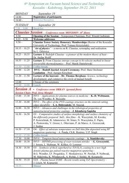 PLAN konferencji 19.09.2011 - Koszalin