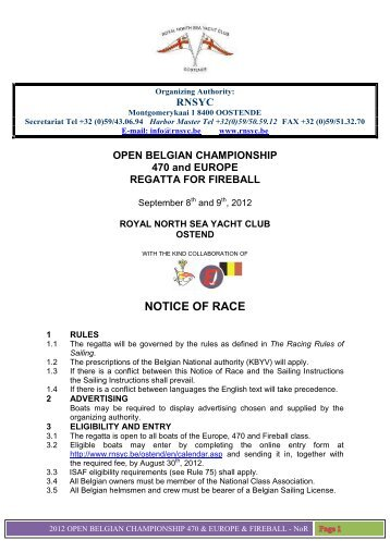 NOTICE OF RACE - Royal North Sea Yacht Club