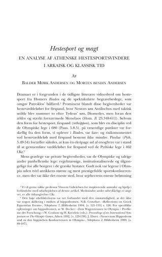 Hestesport og magt - Historisk Tidsskrift