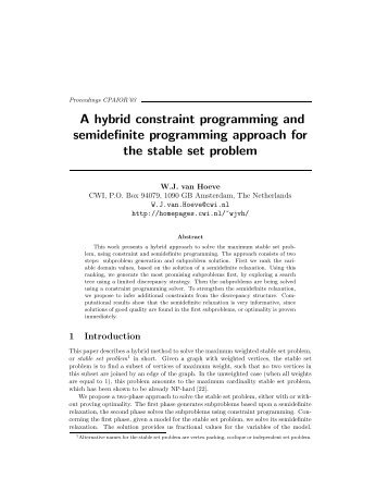 A hybrid constraint programming and semidefinite programming ...