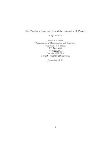 On Pareto's Law and the determinants of Pareto exponents
