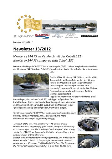 Newsletter 13/2012 - Europe Marine