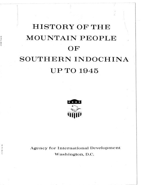 History Of The Mountain People Of Southern Indochina Up To 1945