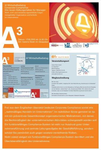 Programm A³ Wirtschaftsdialog zum Thema Corporate Compliance ...