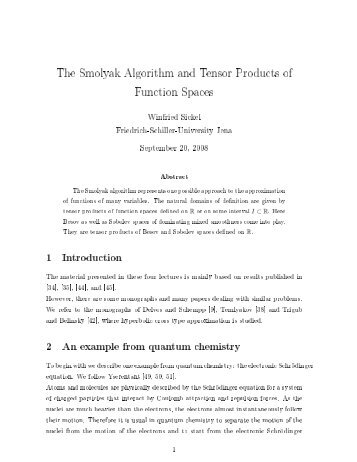 The Smolyak Algorithm and Tensor Products of Function Spaces