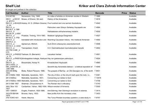 Shelf List Krikor and Clara Zohrab Information Center