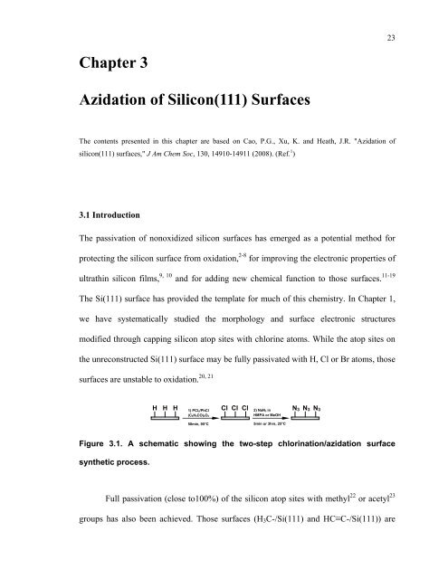 Chapter 3 Azidation of Silicon(111) Surfaces