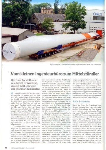 Artikel Erneuerbare Energien Nov2008 - Euros