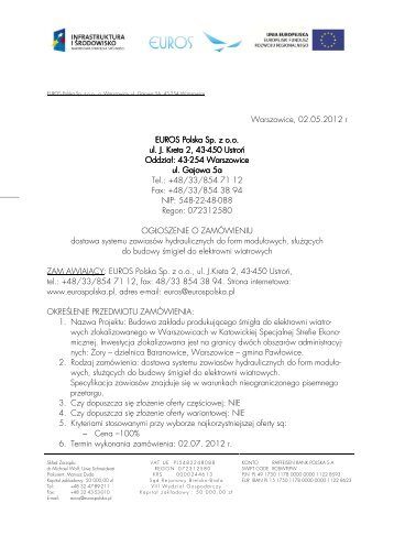 Ogłoszenie o zamówieniu (PDF, 02.05.2012) - Euros