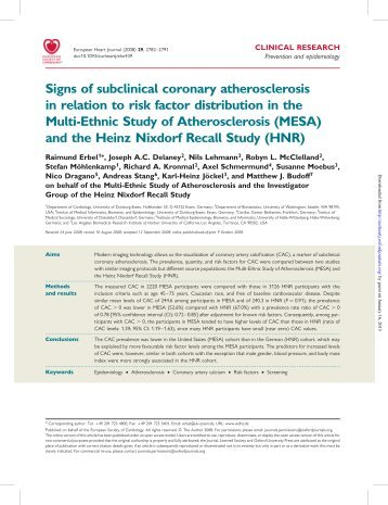 Signs of subclinical coronary atherosclerosis in relation to risk factor ...
